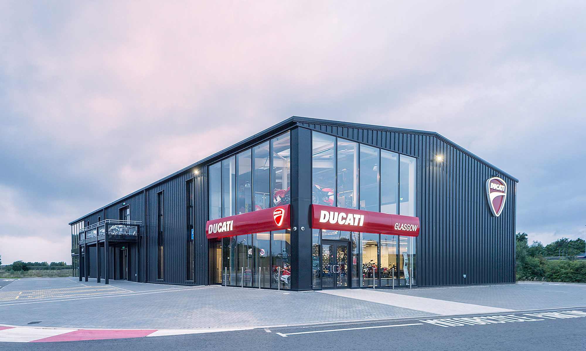 Photograph of final construction of Ducati Dealership in Hillington Glasgow
