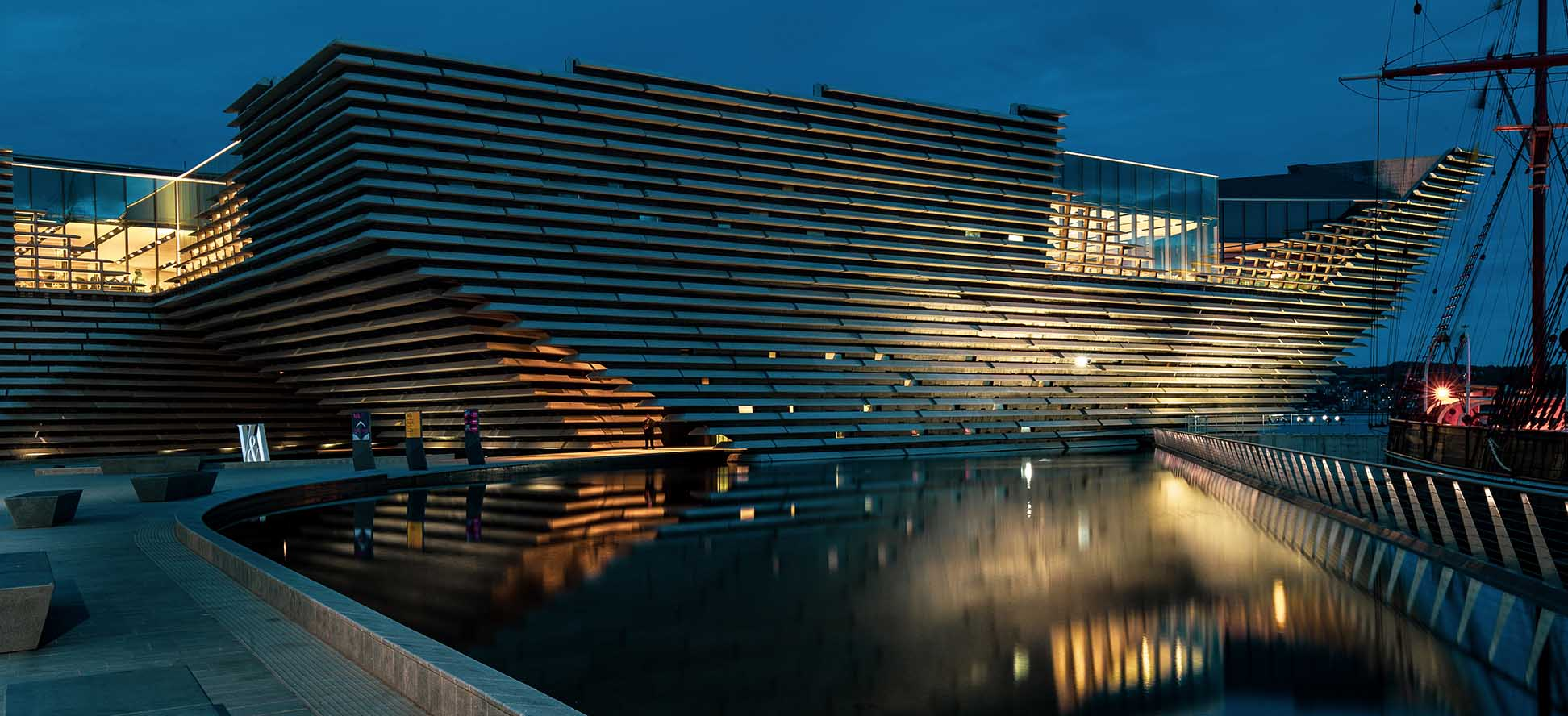 V&A Museum Dundee at night by James Thompson