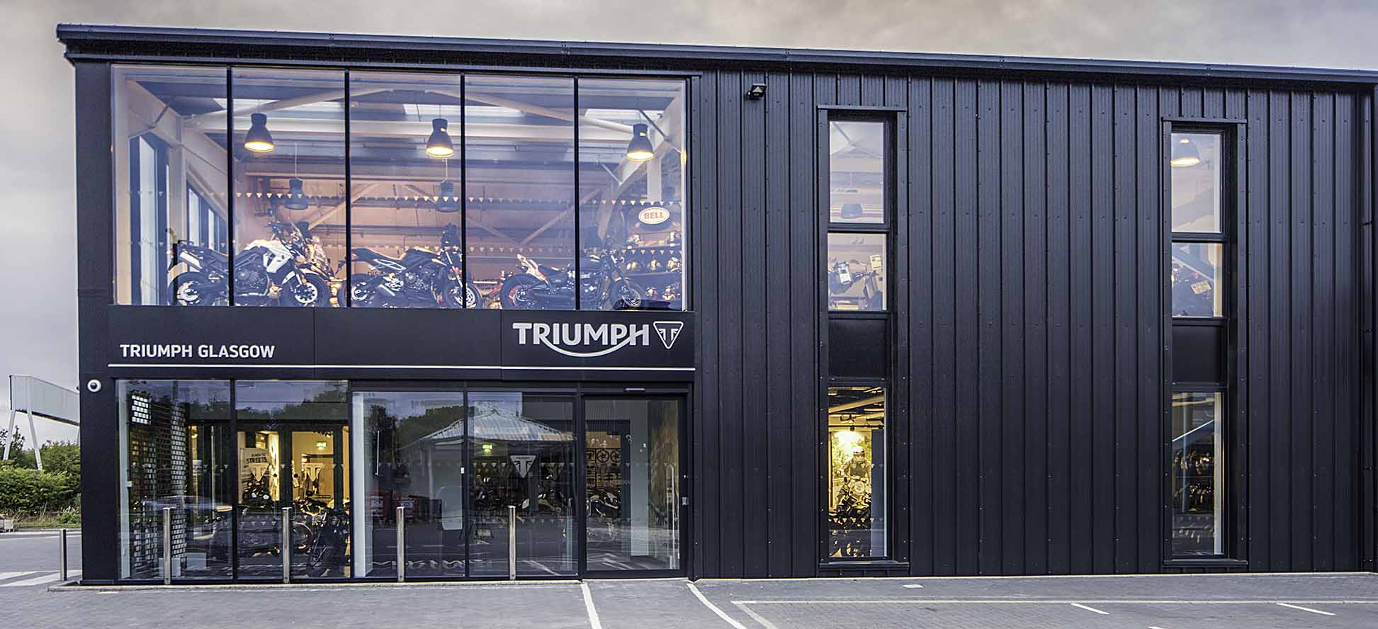 Triumph Dealer Hillington Park, by commercial photographer in Glasgow James Thompson