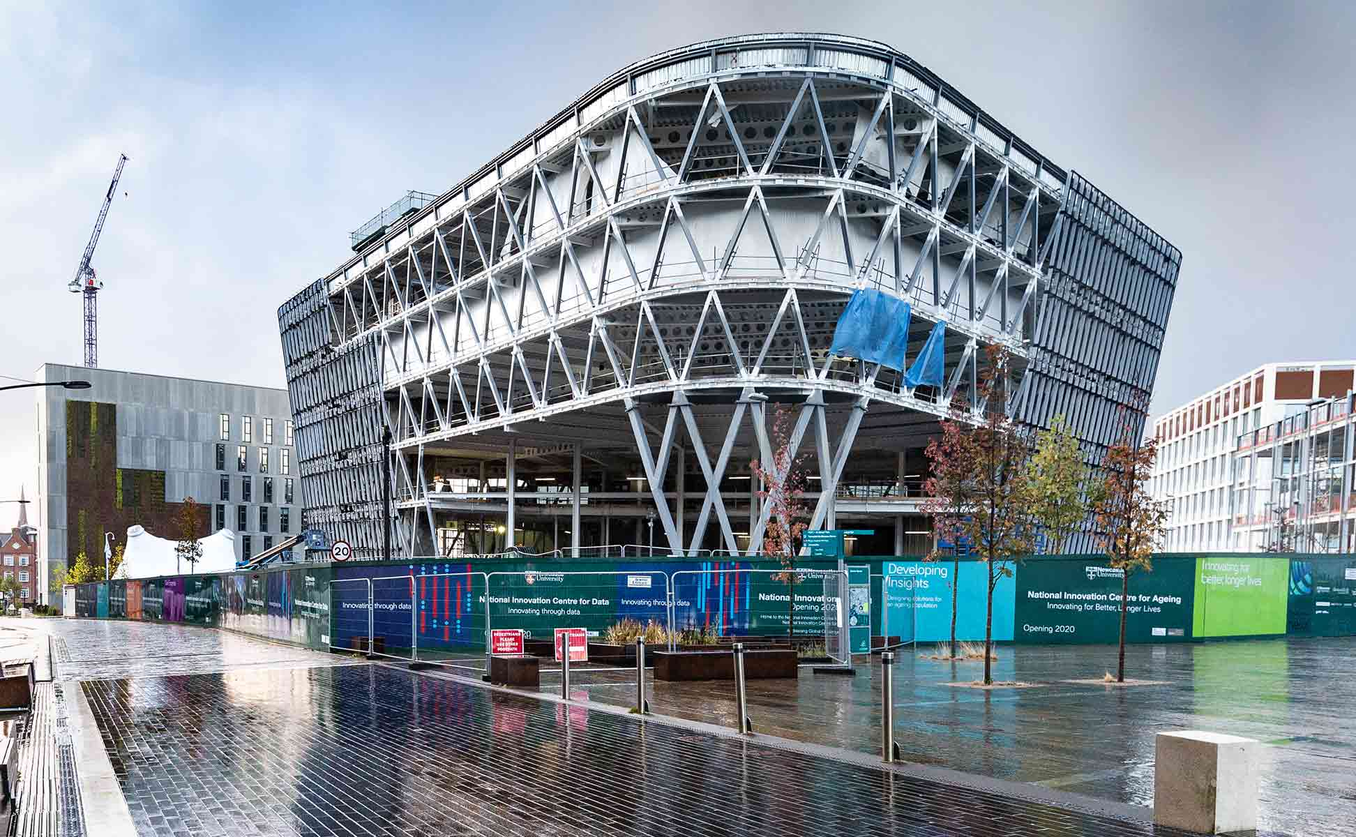 Construction photograph showing -the National-Innovation-Centre-Newcastle in the rain