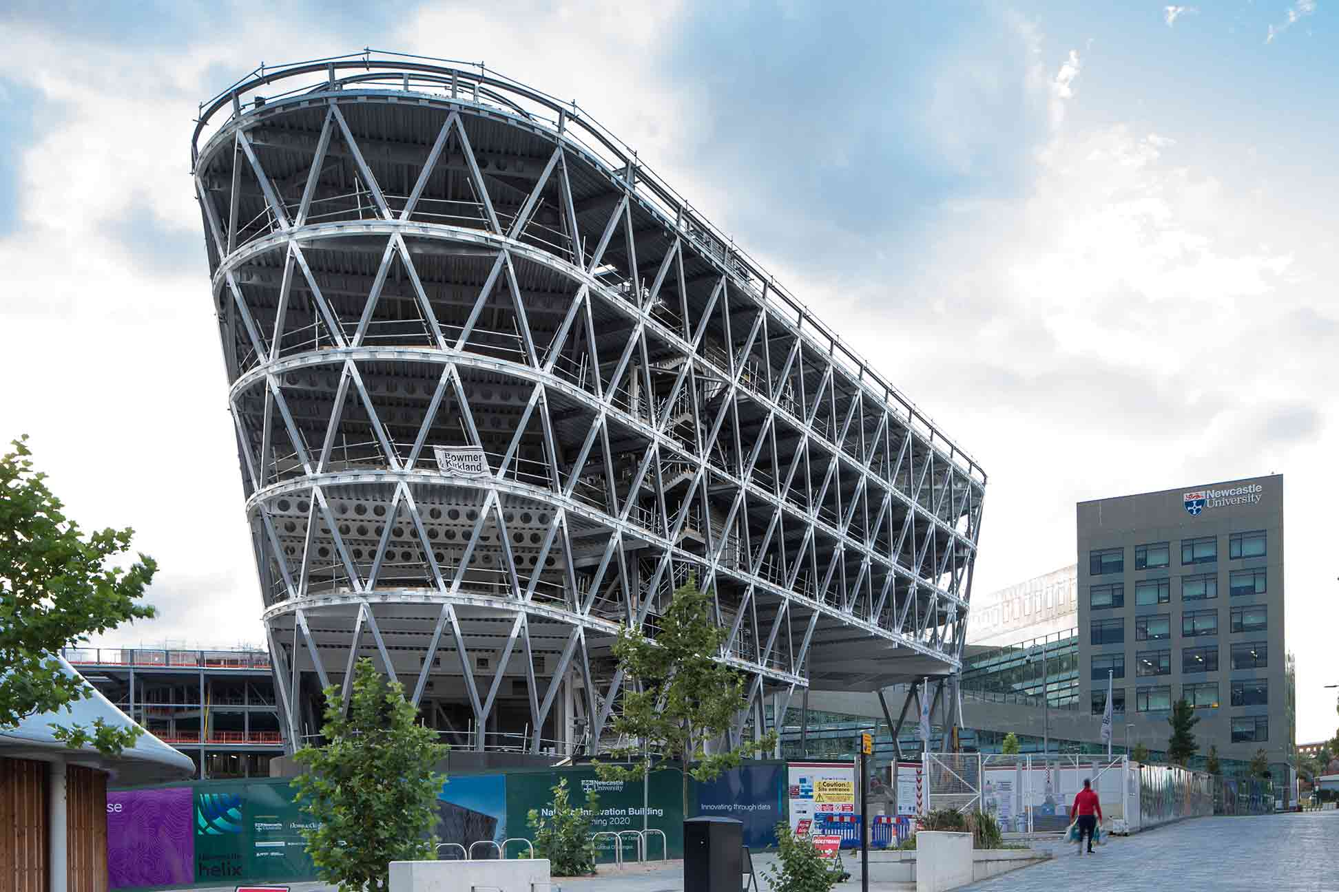 Front view showing steel structure of National Innovation Centre Newcastle