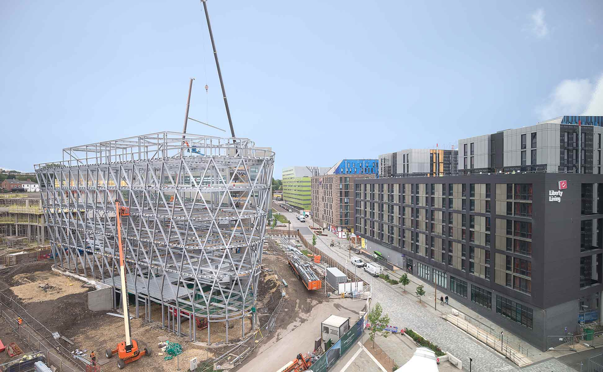 photograph showing construction site progress of National Innovation Centre Newcastle