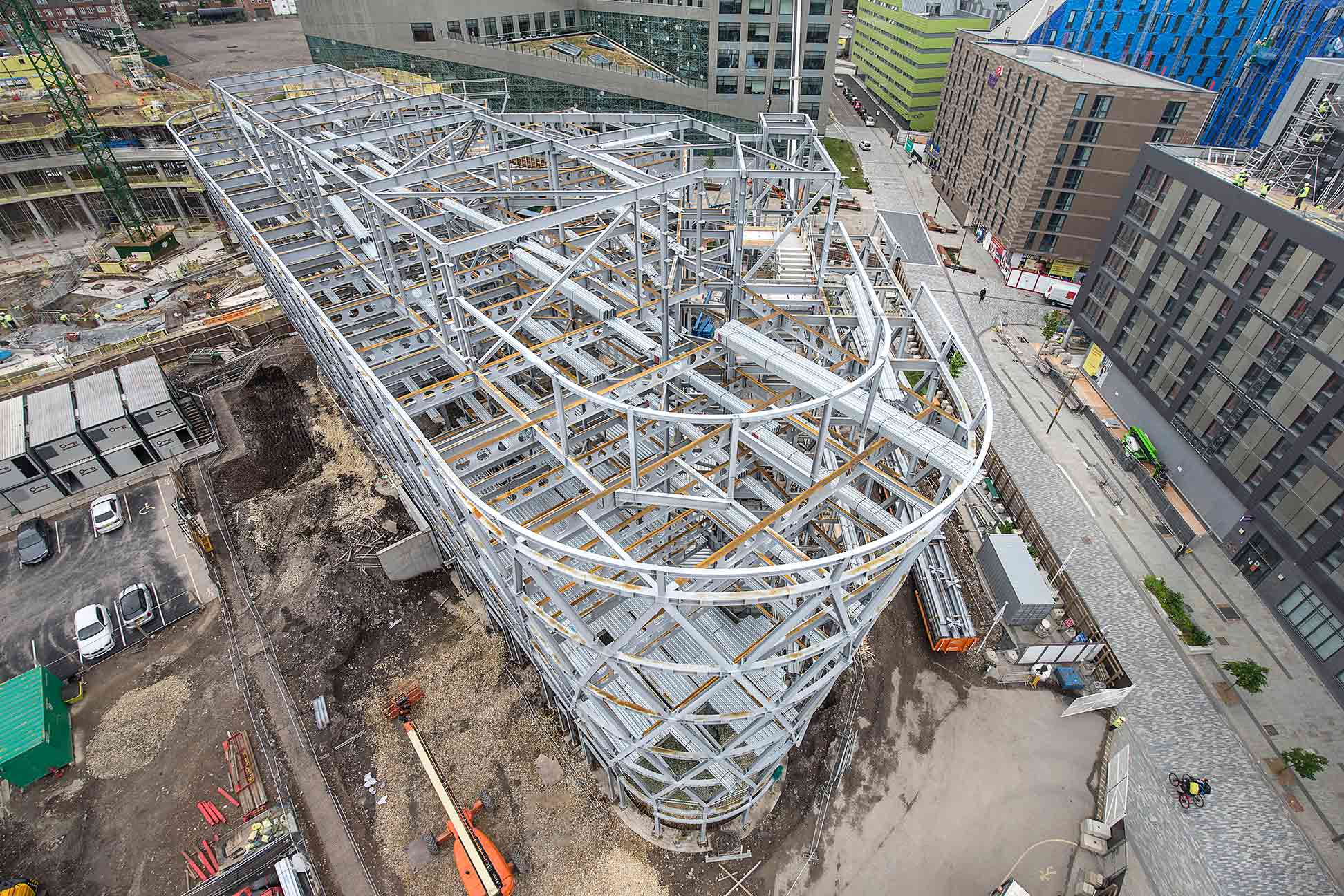 Aerial construction photograph of the National Innovation Centre Newcastle