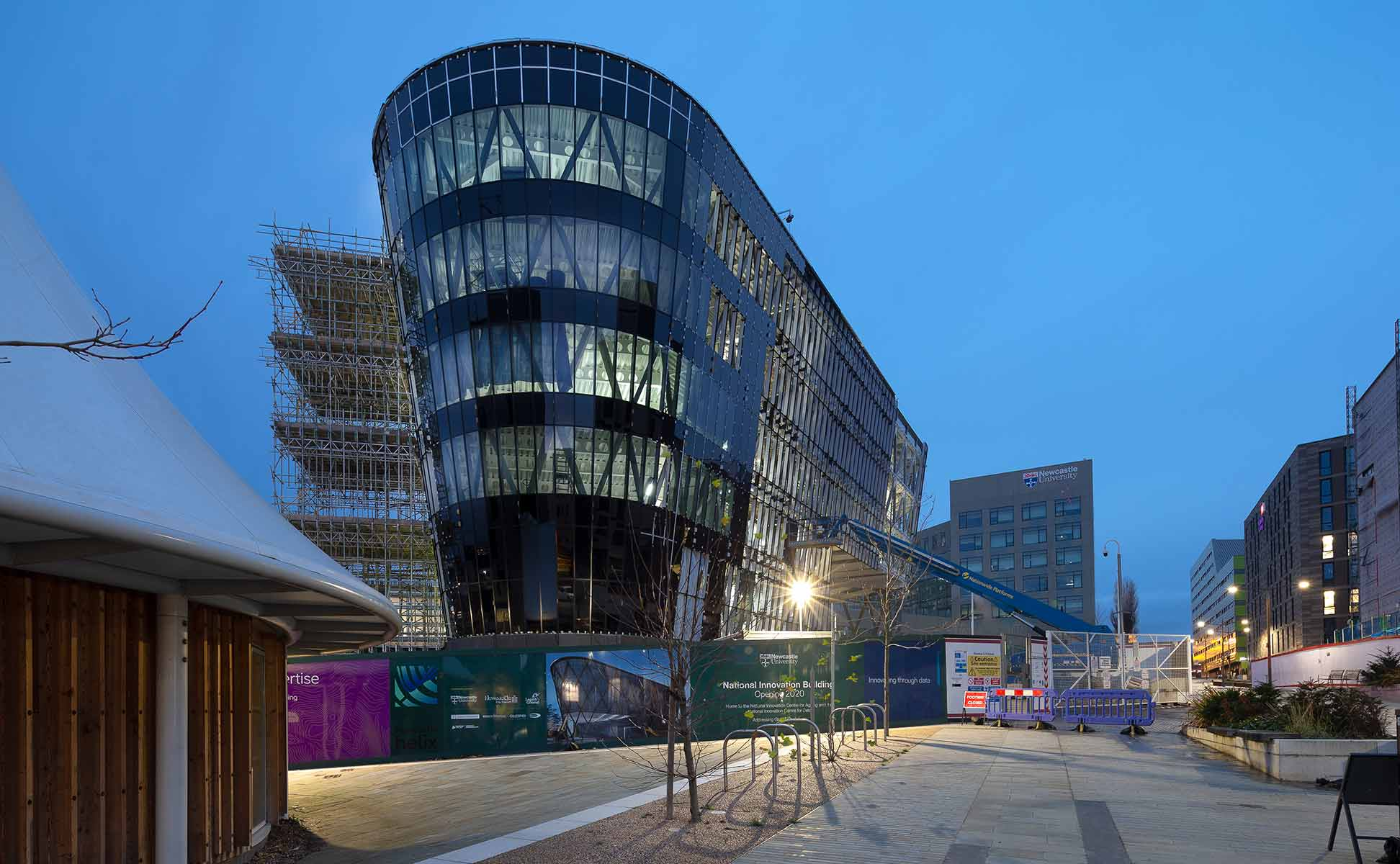 Construction photography showing the National Innovation Centre Newcastle in early morning December light