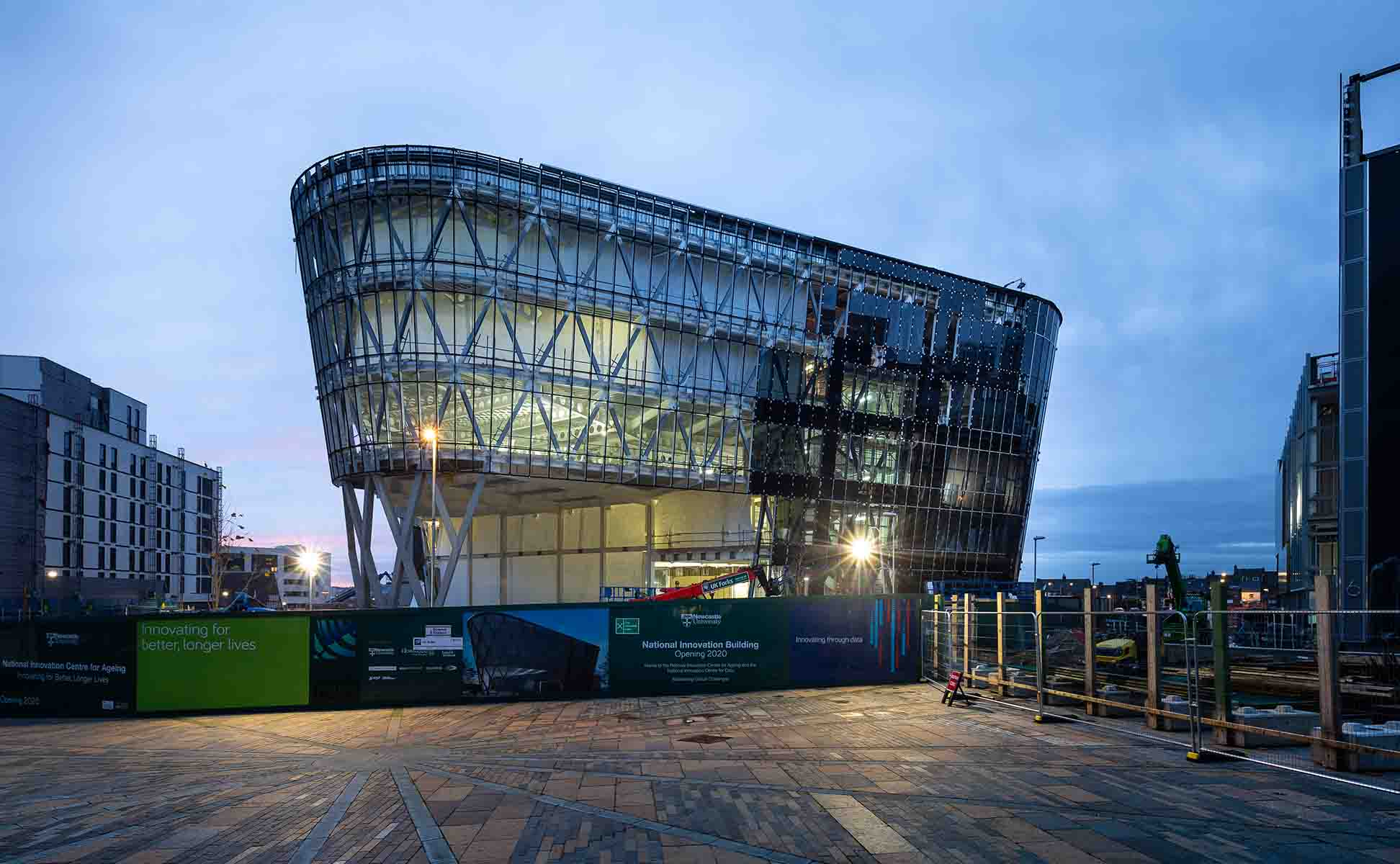 Construction photograph of the National Innovation Centre taken by James Thompson