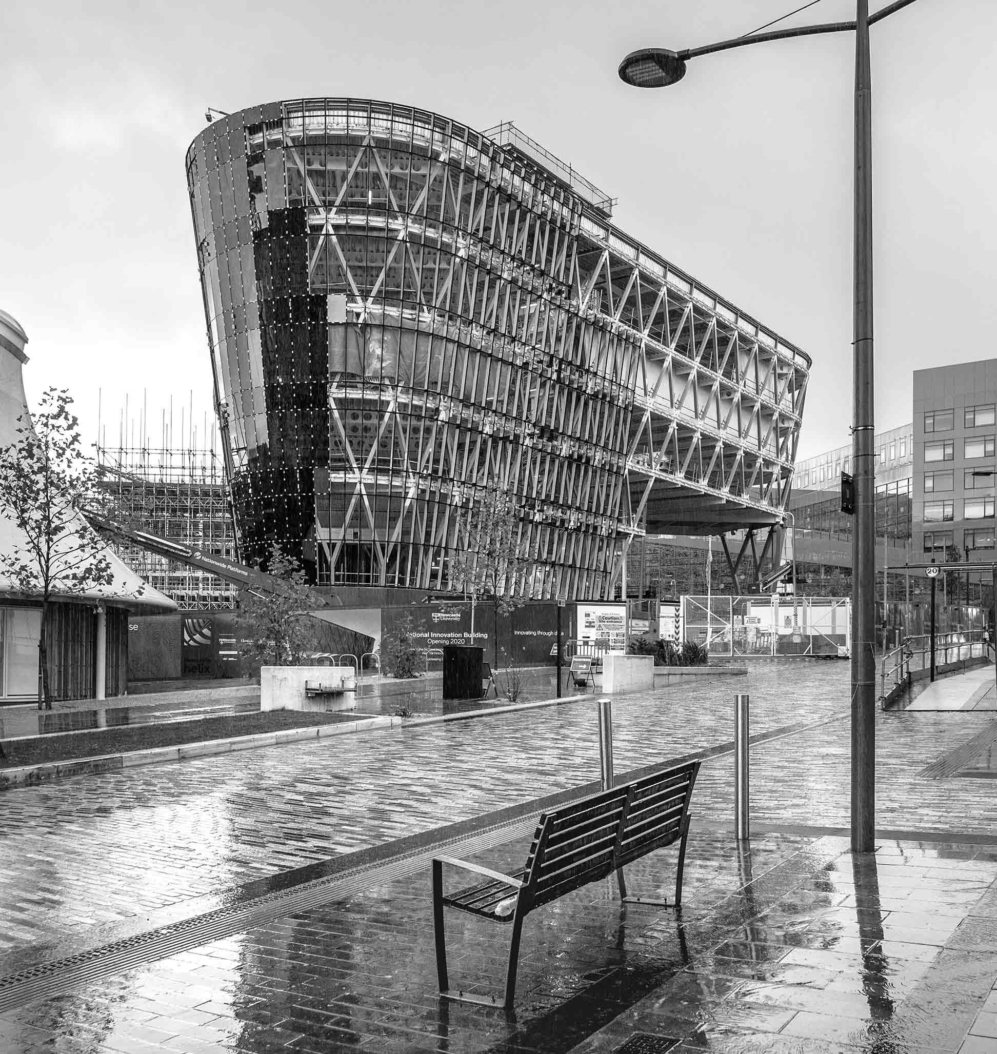 Construction photography taken whilst raining of the National Innovation Centre Newcastle