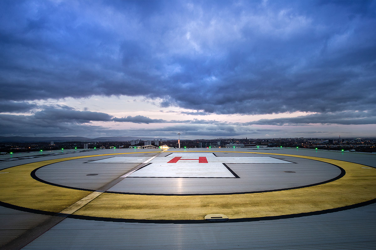 Architectural photograph by James Thompson showing Queen Elizabeth University Hospital Helipad