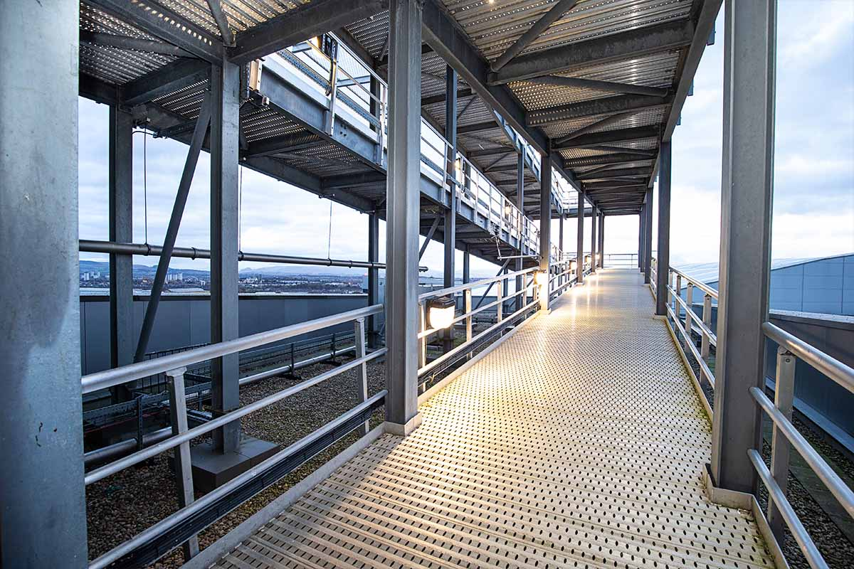 Architectural photograph of walkway to Queen Elizabeth University Hospital Glasgow's Helipad