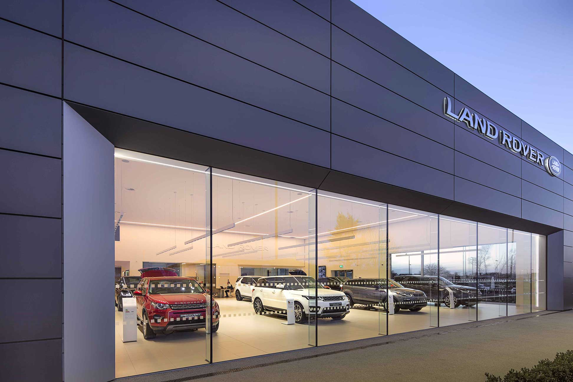 Parks Motor Group Land Rover Showroom, Heath Road, Ayr. Photography by James Thompson.