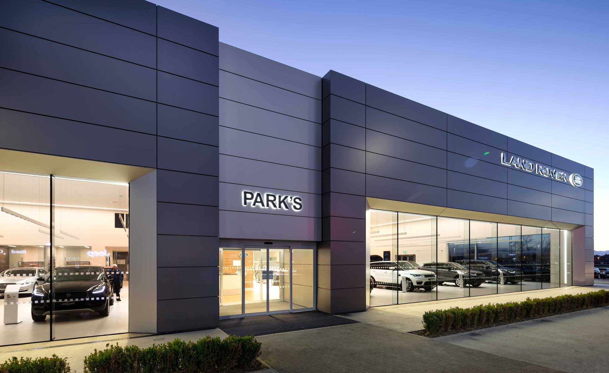 Parks Motor Group Jaguar Land Rover Arch Dealership showing shared entrance. Photography by James Thompson.