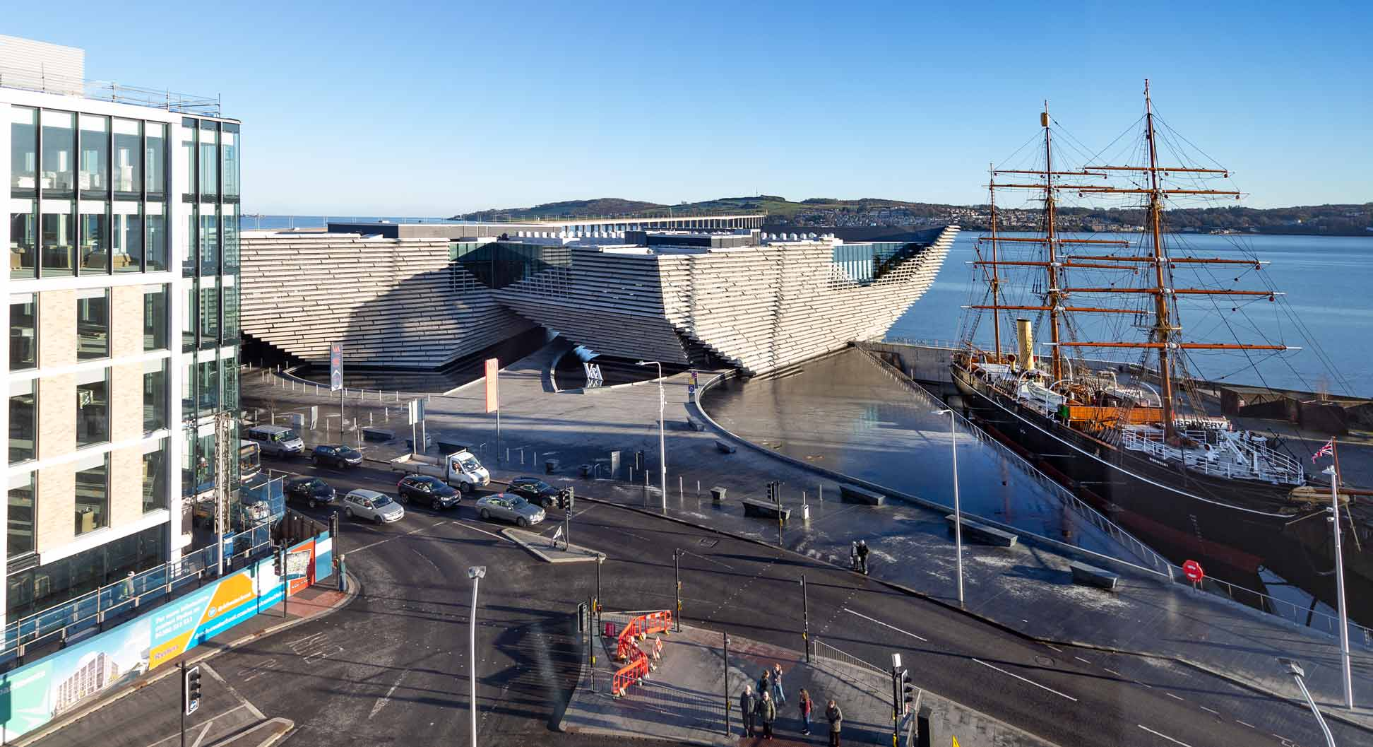 photograph of daytime view of the V&A Museum Dundee from Room 540 window.