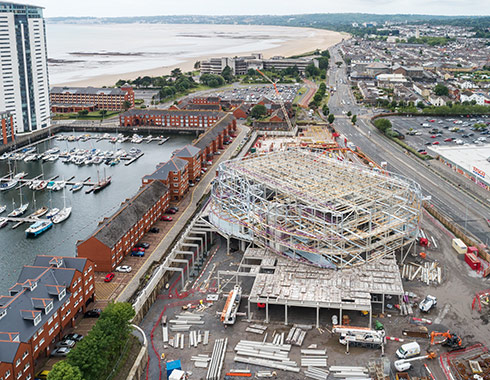 Aerial Photograph showing construction of Swansea Arena Wales