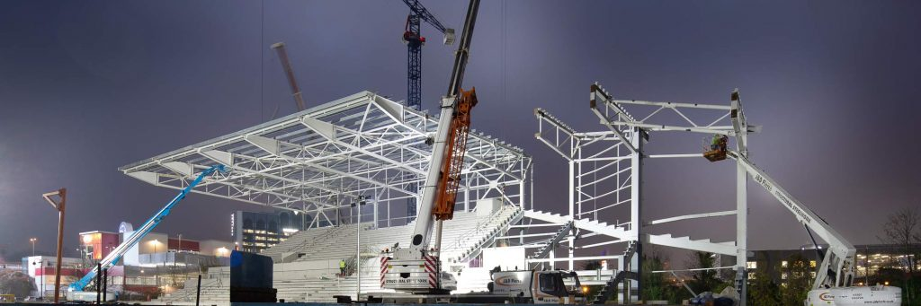 Construction photography of Brentford FC new football stadium during construction.
