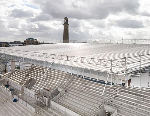 Construction-photography-showing-construction-site-progress-of-new-Brentford-FC-Stadium-London