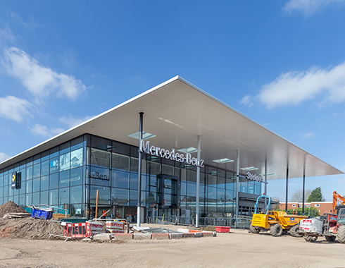Contruction photography showing construction site progress of Mercedes Dealership Stockport