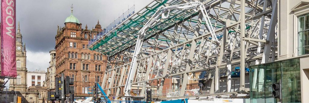 Construction Photography showing Structural-Steel-Construction-of-Queen-Street-Railway-Station-Glasgowj