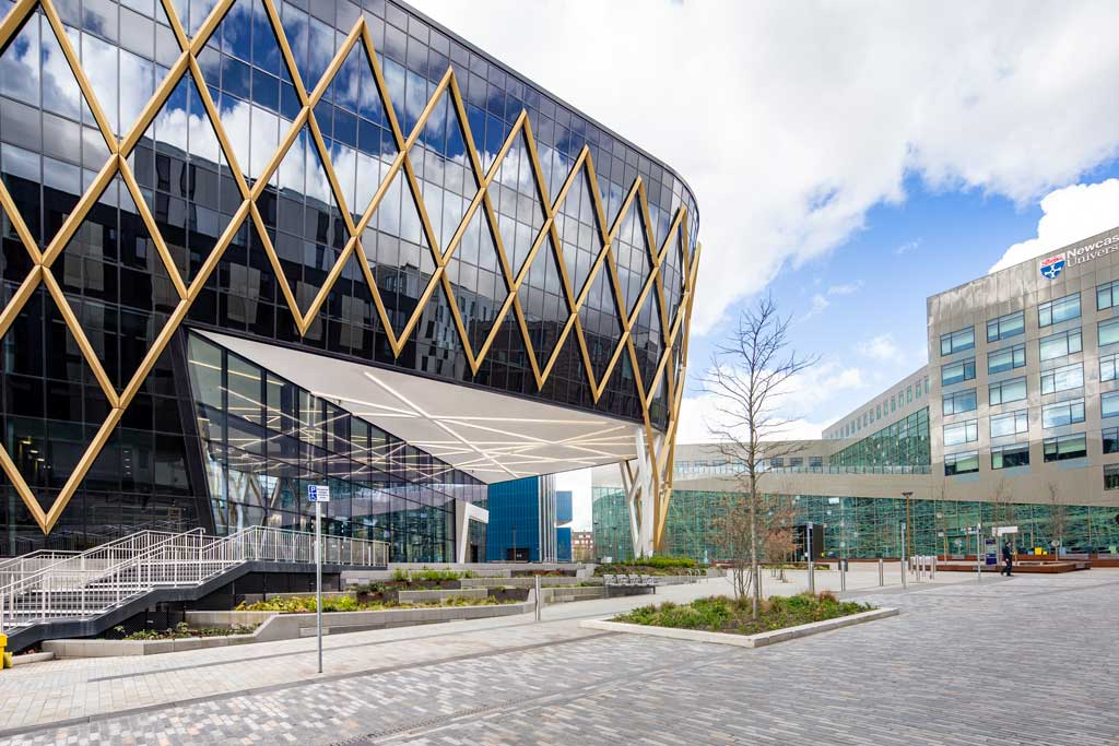 Construction Photographers image of The-Catalyst-NIC-Newcastle-showing-Diagrid-and-Entrance