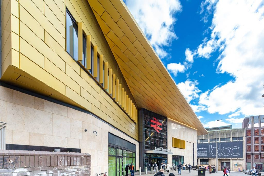 Close-up-Queen-Street-Railway-Station-Gold-Canopy-viewed-from-Dundas-Street-by-uk-construction-photography