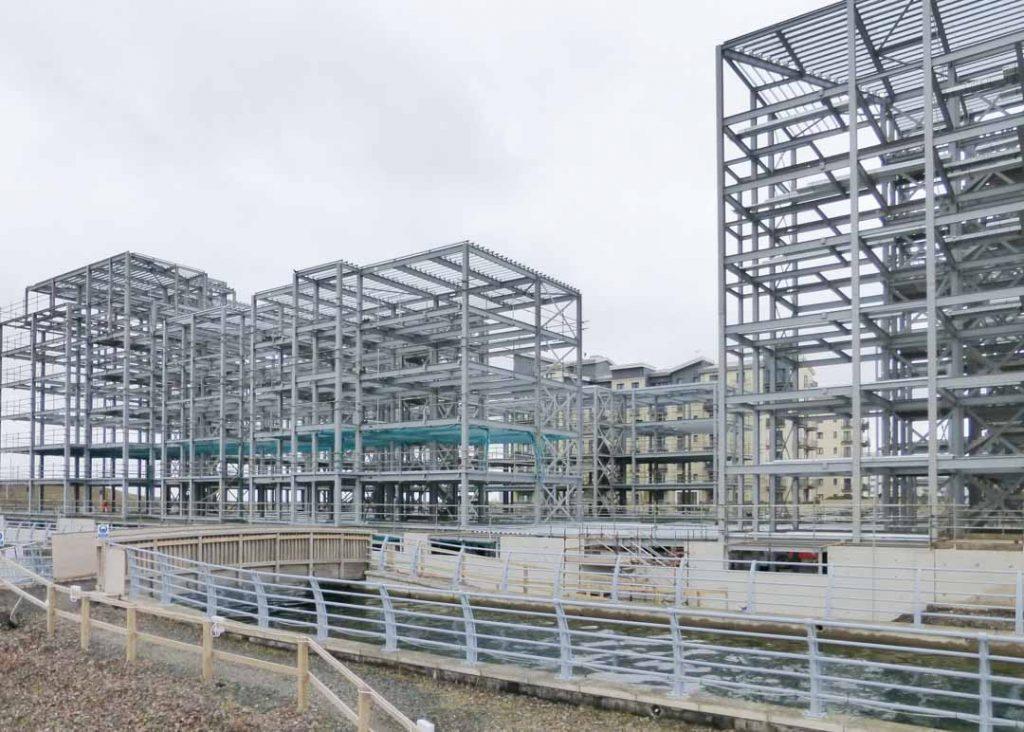 Construction photography showing steel structure construction on progress at plot 27 Granton Harbour Edinburgh