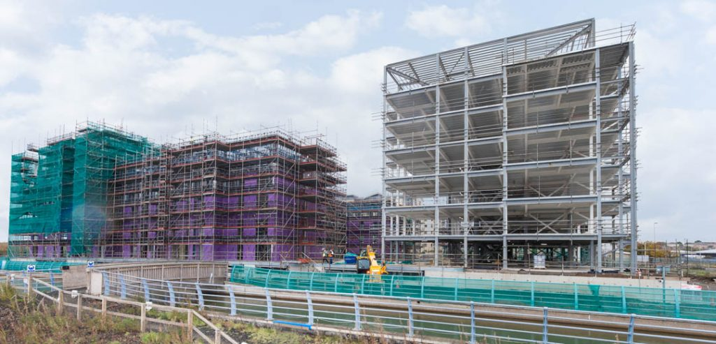 View of Steel Structure being erected at Plot 27 Granton Harbour Appartments Edinburgh by uk construction photography