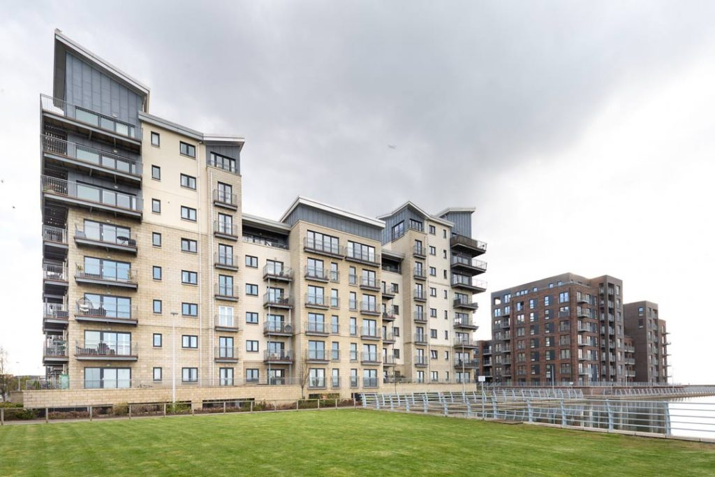 General view from canal showing Plot-27-and-26-of -Granton-Harbour-Appartments-Edinburgh--by-uk-construction-photography