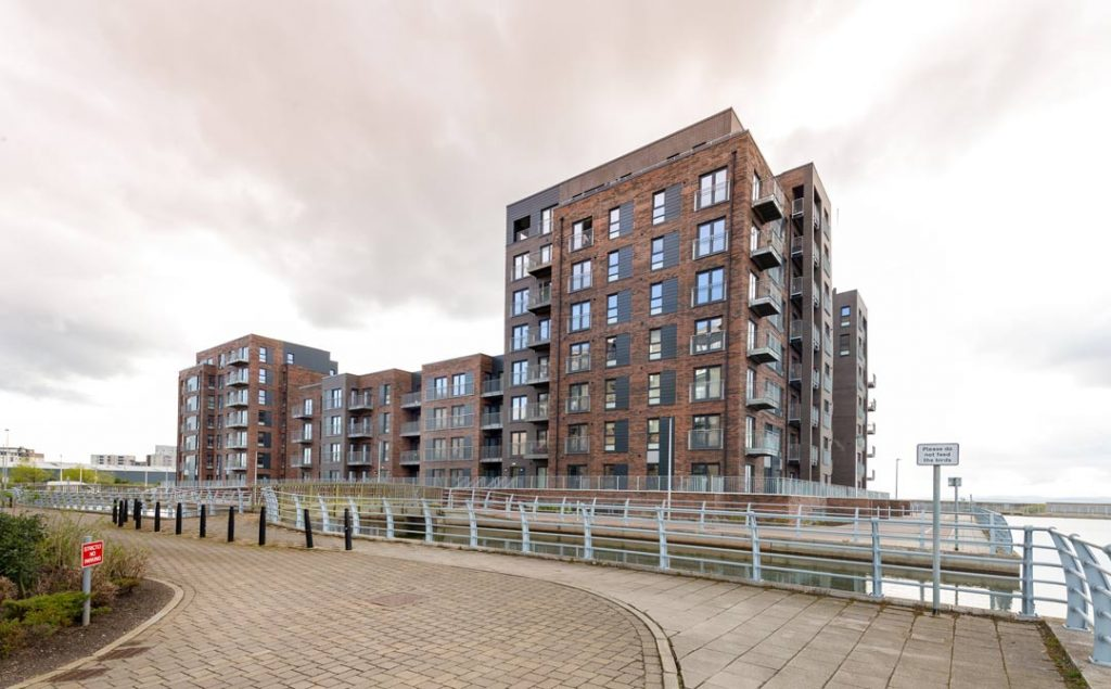 Commercial Photograph of Plot-27--showing-Granton-Harbour-Appartments-Edinburgh--by-uk-construction-photography
