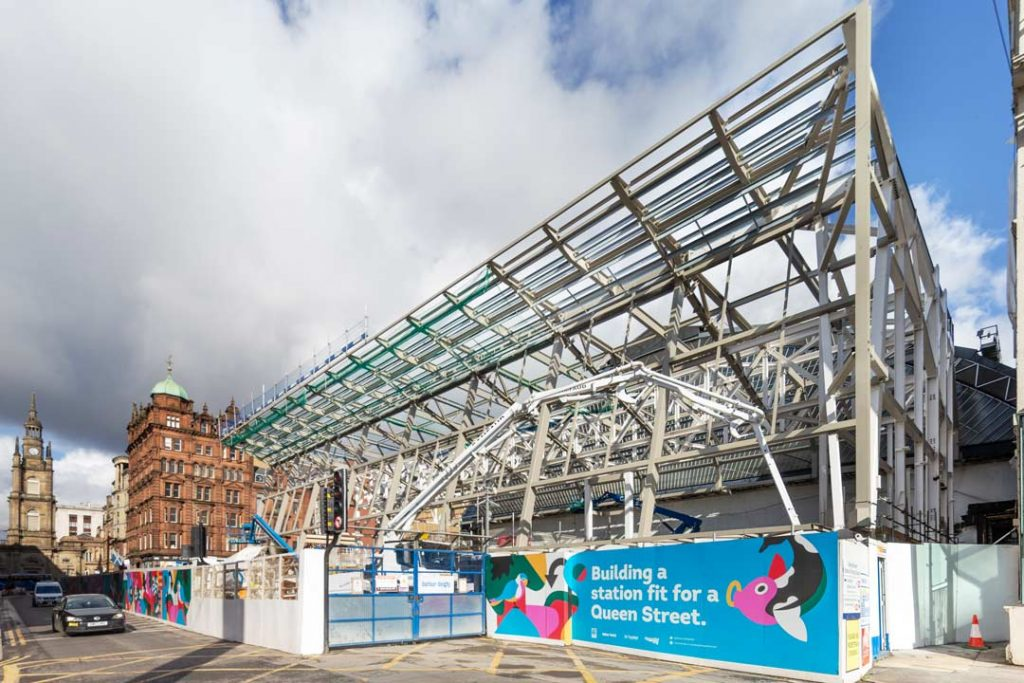 Construction photograph showing steel structure to support glass frontage of Queen Street Railway Station Glasgow.