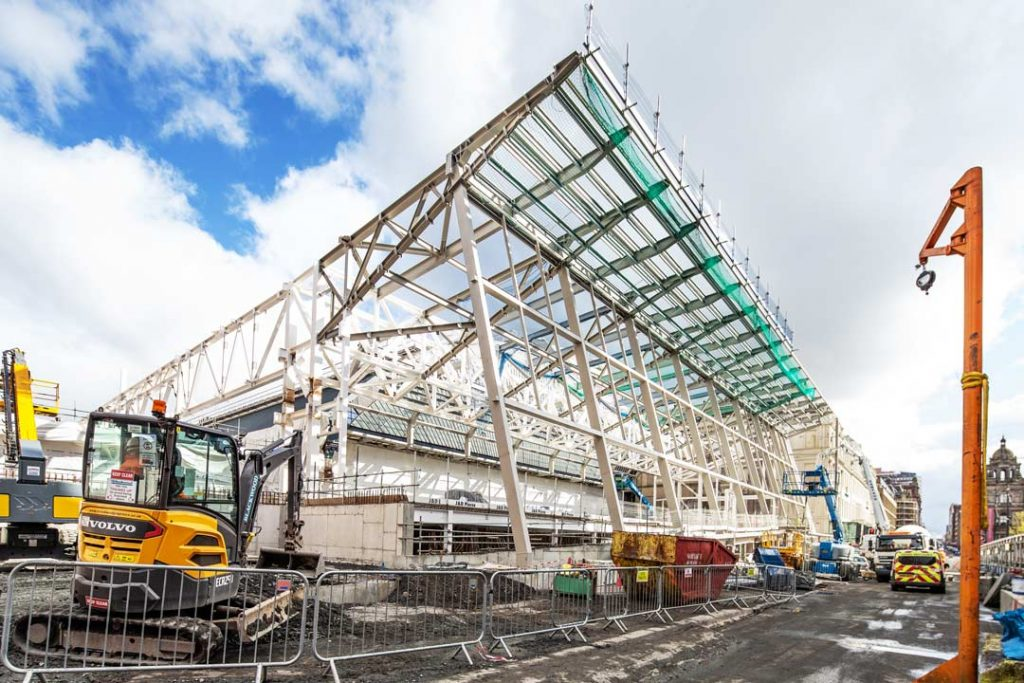 Construction Photograph showing Glasgow Queen Street Railway Station extension progress as of May 2019