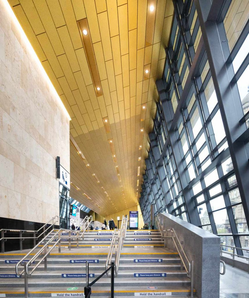 interior-of-Queen-Street-Railway-Station-showing-Gold-Cladding-on-ceiling-viewed-from-Dundas-Street-by-uk-construction-photography