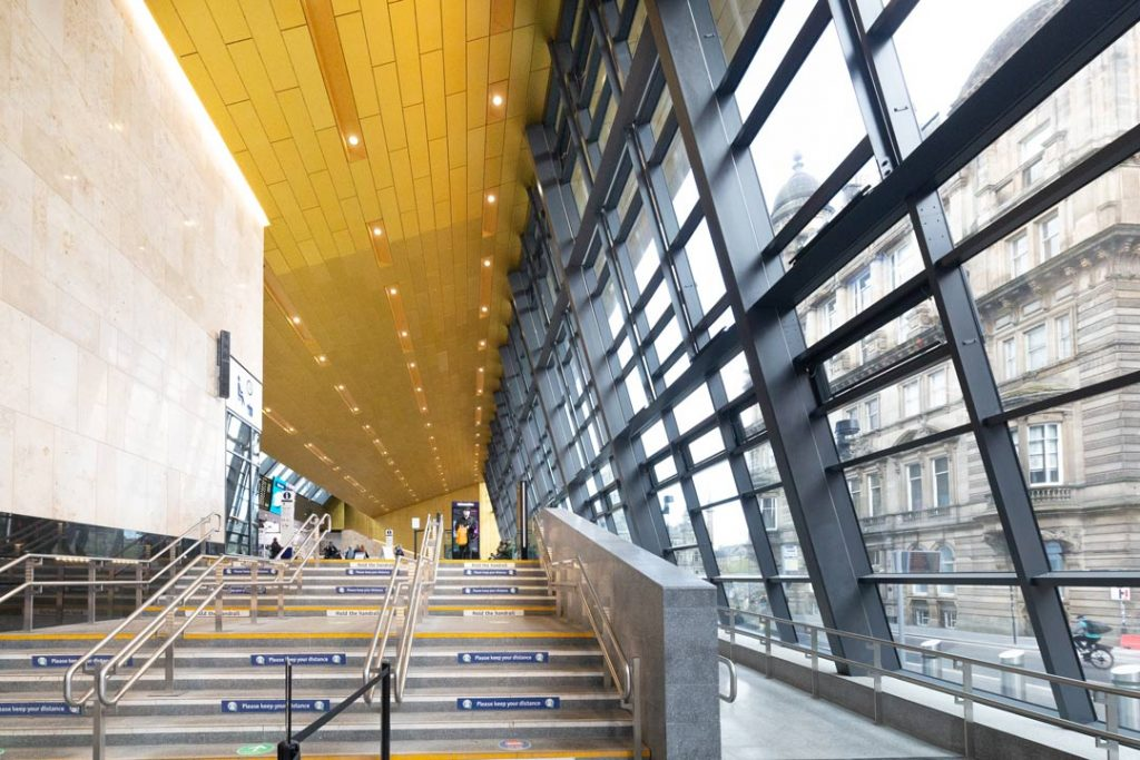 interior-photograph-of-Queen-Street-Railway-Station-showing-Gold-Cladding-on-ceiling-viewed-from-Dundas-Street-by-uk-construction-photography